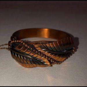 Whiting & Davis leaf pattern cuff bracelet vintage